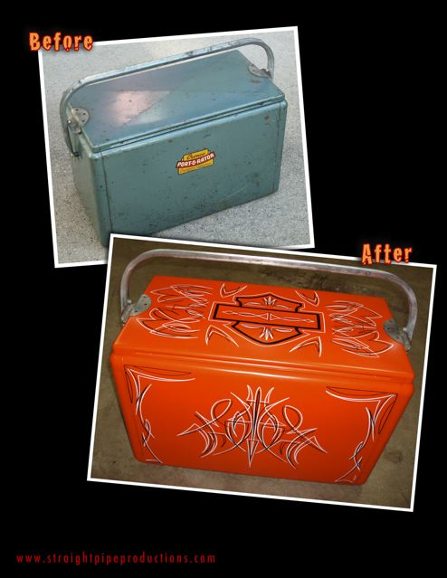 Vintage cooler painted flat orange with harley themed